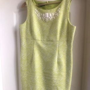 Lime and white brocade dress